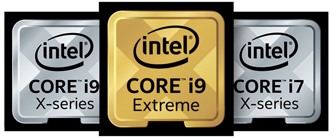 A gold intel core i9 extreme, silver intel core i9 x-series and silver intel core i7 x-series with all black border color