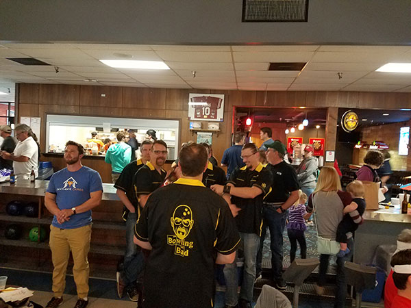 BOXX bowling team relaxing at a bowling alley