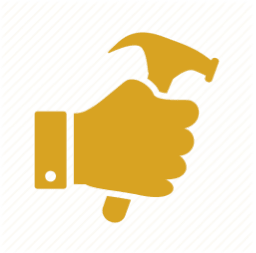 A hand holding hammer icon in full yellow outline