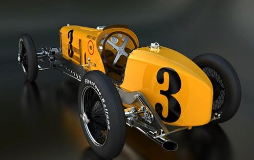 3D printed version of an old-fashioned race car