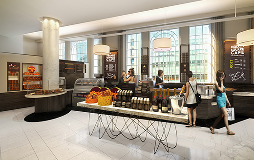 rendering of a modern and high-end cafe at the Macy's Herald Square store