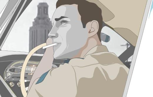 animation of a man driving through a city while smoking a cigarette