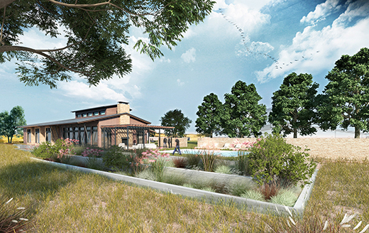 architectural rendering of a landscaped park with a garden and a small building