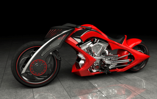 Rendering of an Orange County Choppers custom motorcycle
