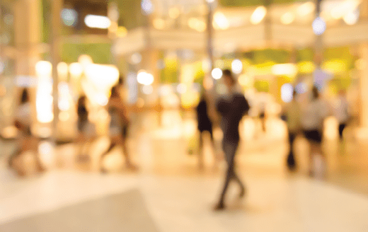 Out of focus image of a shopping center