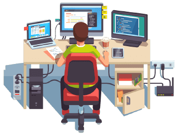 An icon of a man seating on the chair working in his workstation with three monitors and a desktop
