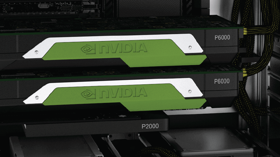 two NVIDIA P6000 GPUs inside of a computer